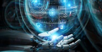 intelligent robot machine using digital screens interface 3d ren